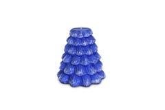 Supports bleus de bougie de vacances sur le support de porcelaine Photos stock