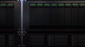 Supports de serveur Opacifiez la storage technology ou les concepts modernes de centre informatique rendu 3d illustration libre de droits