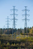 Supports of e electric mains. Support of electric mains against the blue sky in wood Stock Photos