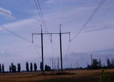 Supports of high-voltage line stock image