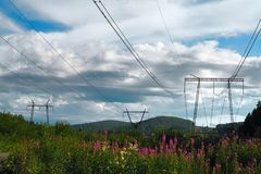 Supports of high-voltage transmission line royalty free stock photo