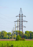 Supports for overhead power transmission lines Royalty Free Stock Photos