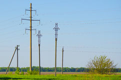 Supports for overhead power transmission lines Stock Image