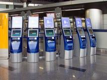 Supports pour auto-contrôle-dans pour des vols, aéroport de Vnukovo, Moscou Image libre de droits
