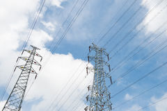 Supports power lines Royalty Free Stock Photo
