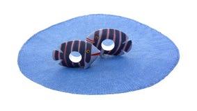Supports rayés bleu-foncé de serviette de poissons Images libres de droits