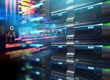 Supports superbes de serveur d'ordinateur dans le datacenter illustration 3D Image stock