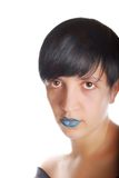 Suppressed. The sad woman portrait with a blue colour lips Stock Photo