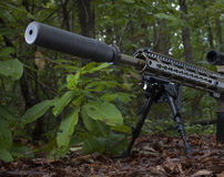 Suppressed rifle. Camouflaged rifle in a forest with a silencer attached Stock Image