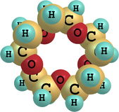 Supramolecule του αιθέρα κορωνών στο άσπρο υπόβαθρο Στοκ Φωτογραφία