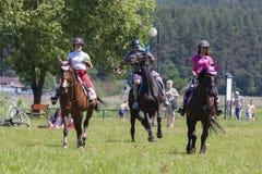 Suprasl , Poland - June 5, 2016 : recreation on horseback . Stock Photos