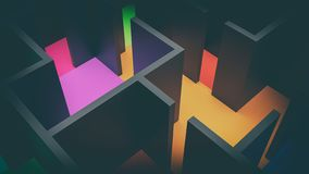 Suprematism constructivism 3d illustration top view. Full color with copy space vector illustration