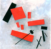 Suprematism figure on snow. Black and red squares on a white background. Hand drawing, paint Royalty Free Stock Images