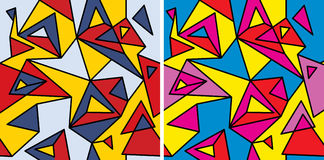 Suprematism (fragment one). Fragments of the abstraction, cubism and pop-art — seamless pattern set stock illustration