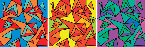 Suprematism (fragment three). Fragments of the abstraction, cubism and pop-art — seamless pattern set stock illustration