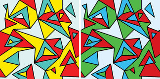 Suprematism (fragment two). Fragments of the abstraction, cubism and pop-art — seamless pattern set royalty free illustration