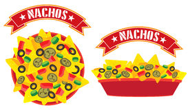 Supreme cheese nachos tray royalty free illustration
