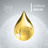 Supreme collagen oil drop essence with DNA helix. Premium shining serum droplet. Vector illustration Royalty Free Stock Photo