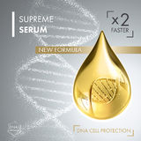 Supreme collagen oil drop essence with DNA helix Royalty Free Stock Photography