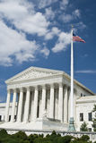 Supreme Court. Main entrance with US flag in a sunny day with clouds - Washington DC 2007 Royalty Free Stock Photos