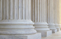 Supreme Court columns. Stone columns in front of the US Supreme Court building in Washington, DC Royalty Free Stock Photos