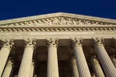 Supreme Court Justice. Photo of details of supreme court building in Washington D.C. National issues of law are debated and decided here such as Roe versus Wade royalty free stock image