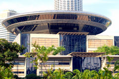 Supreme court of Singapore. The UFO building of the supreme court in Singapore in south east asia stock photo