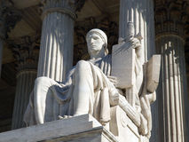 Supreme Court Statue. Historic United States Supreme Court Building Statue, entitled Authority of Law Royalty Free Stock Photography