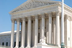 The Supreme Court of the United States. White marble from American quarries was carved by American craftsmen to make the beautiful facade of the Supreme Court Royalty Free Stock Image