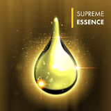 Supreme essence gold premium shining oil drop Royalty Free Stock Photography