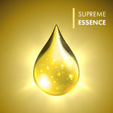 Supreme essence gold premium shining oil drop. Vector oil drop. Supreme collagen essence. Premium gold shining serum droplet stock illustration