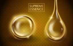 Supreme essence template. Translucent essence oil with different shape in 3d illustration vector illustration