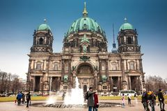 Supreme Parish and Collegiate Church or also called Berlin Cathedral on a cold end of winter day stock image