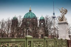 Supreme Parish and Collegiate Church or also called Berlin Cathedral seen from the Schloss Bridge stock photography