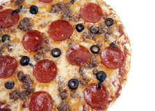Supreme Pizza Pepperoni Pie Black Olive royalty free stock photo