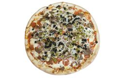 Supreme Pizza. A supreme pizza with pepperoni, sausage, bacon, ham, garlic, onions, green peppers, olives and mushrooms Stock Images