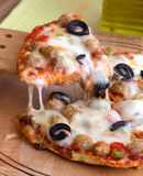 Supreme Pizza. Cheese Meatballs Olives, peppers stock photo