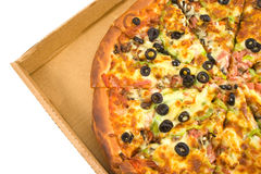 Supreme Pizza. Sliced in a box royalty free stock photo