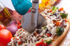 Supreme Pizza in pan Stock Photo