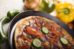 Supreme pizza in pan Royalty Free Stock Image