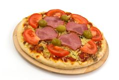 Supreme Pizza with Salami,Olives,Cheese,mushrooms stock images