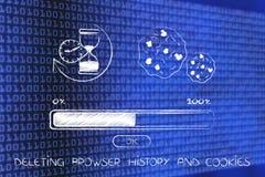 Supresión de historia del navegador con reloj de arena, la galleta y la barra de progreso Imagen de archivo libre de regalías