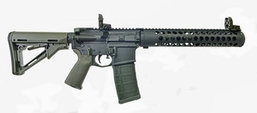 Supressed AR15 SBR with 30rd mag and collapsed stock Stock Images