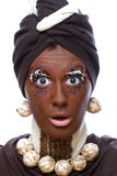 Suprise. D woman with artificial african make up Royalty Free Stock Photography