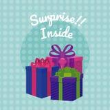 Suprise inside gift boxes. Colorful vector illustration graphic design royalty free illustration