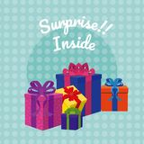 Suprise inside gift boxes. Colorful vector illustration graphic design stock illustration