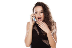 Suprise on the phone Royalty Free Stock Image