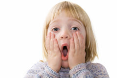 Suprise shock child isolated Royalty Free Stock Images