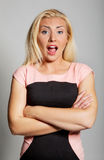 Suprised or shocked. The portrait of attractive suprised woman in studio Stock Photography