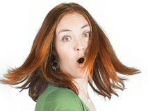 Suprised woman with coloured hair in movement Stock Photos